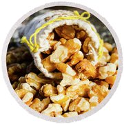 Closeup Of Walnuts Spilling From Small Bag Round Beach Towel