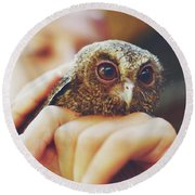 Closeup Portrait Of A Girl Holding And Tending A Small Baby Owl In Her Hands Round Beach Towel
