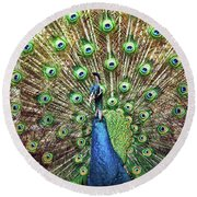 Closeup Portrait Of An Indian Peacock Displaying Its Plumage Round Beach Towel