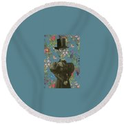 Clothed, Because You Are Watching Me. Round Beach Towel