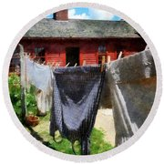 Clothes Hanging On Line Closeup Round Beach Towel