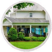 Clothes On The Front Porch Round Beach Towel