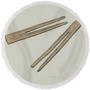 Clothes Pins Round Beach Towel