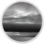 Cloud Above Lake Simcoe Bw  Round Beach Towel