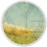 Cloud And Sky On Postcard Round Beach Towel