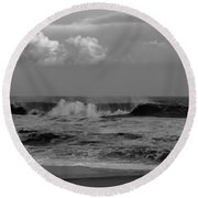Cloud And Wave Black And White Seaside New Jersey  Round Beach Towel