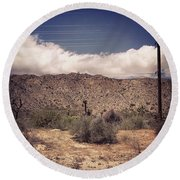 Cloud Blankets Over Joshua Tree Round Beach Towel