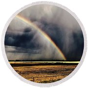 Cloud Burst And Rainbow Early Spring Storm Round Beach Towel