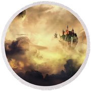 Cloud Castle Round Beach Towel
