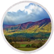 Cloud Covered Peaks Round Beach Towel