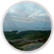 Cloud Covered Sunrise Round Beach Towel