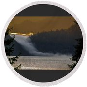 Cloud Fall On Crescent Lake Round Beach Towel