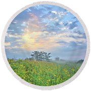 Cloud Filled Morning 2 Round Beach Towel