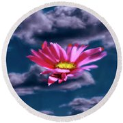 Cloud Flower.  Round Beach Towel