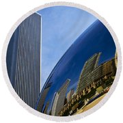 Cloud Gate And Aon Center Round Beach Towel