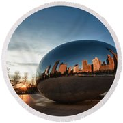 Cloud Gate At Sunrise Round Beach Towel
