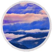 Cloud Layers At Sunset Round Beach Towel