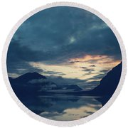 Cloud Mountain Reflection Round Beach Towel
