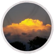 Cloud Of Sun Over Chaparral Lake Round Beach Towel