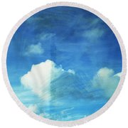 Cloud Painting Round Beach Towel