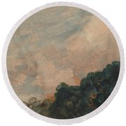 Cloud Study With Trees Round Beach Towel