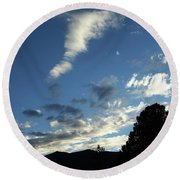 Cloud Sweep And Silhouette Round Beach Towel