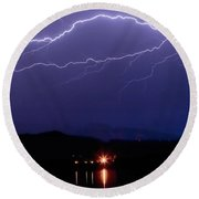 Cloud To Cloud Horizontal Lightning Round Beach Towel by James BO  Insogna