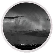 Cloud To Cloud Lightning Boulder County Colorado Bw Round Beach Towel