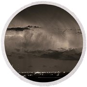 Cloud To Cloud Lightning Boulder County Colorado Bw Sepia Round Beach Towel