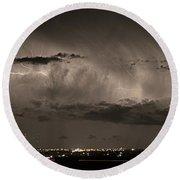 Cloud To Cloud Lightning Boulder County Colorado Sepia Color Mix Round Beach Towel