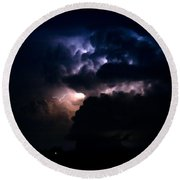 Cloud To Cloud Lightning Photography Round Beach Towel