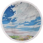 Clouded Sky On The Valley Round Beach Towel