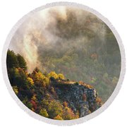 Clouds Above The Crest Of The Mountain Round Beach Towel