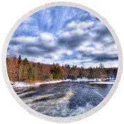 Clouds Above The Lock And Dam Round Beach Towel