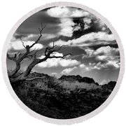 Clouds And A Tree Baw Round Beach Towel