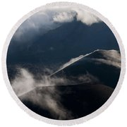 Clouds And Cinder Cones Round Beach Towel