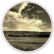 Clouds And Cornfields Round Beach Towel