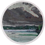 Clouds And Drizzle Round Beach Towel