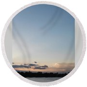 Clouds And Lake Round Beach Towel