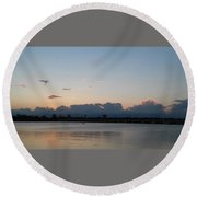Clouds And Lake9 Round Beach Towel
