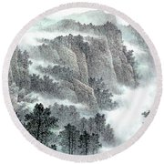 Clouds And Mountains Round Beach Towel