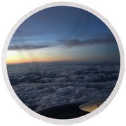 Clouds And Plane Round Beach Towel