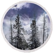 Clouds And Snow Swirling Round Beach Towel