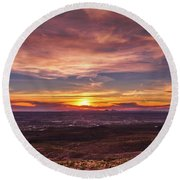 Clouds And Sunset Round Beach Towel