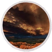 Clouds And Thunderstorm Bryce Canyon National Park  Round Beach Towel