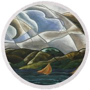 Clouds And Water Round Beach Towel