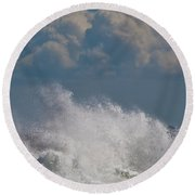 Clouds And Waves Round Beach Towel