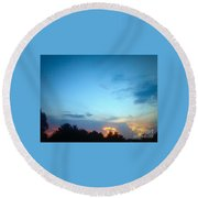 Clouds Arch Over Sunset Round Beach Towel