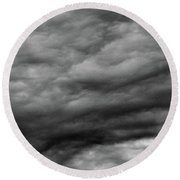 Clouds At Dusk Bw  Round Beach Towel