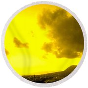 Clouds At Sunset Over Basseterre Round Beach Towel